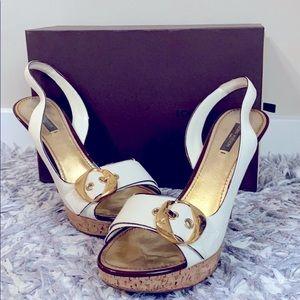 Authentic LV cork sole platform heels